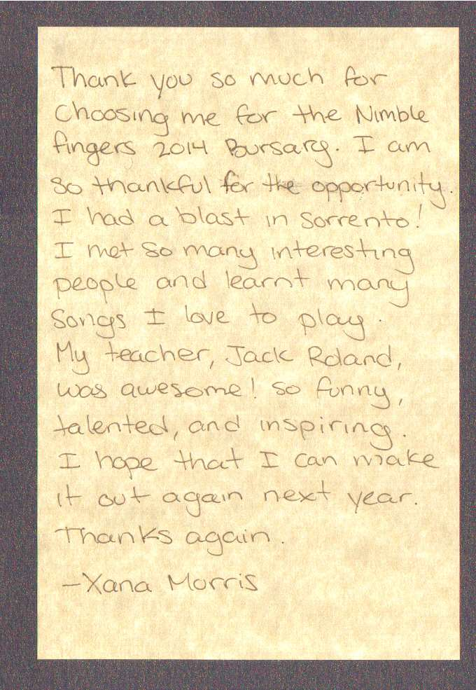 Victoria bluegrass association here is a note from our nimblefingers bursary winner expocarfo